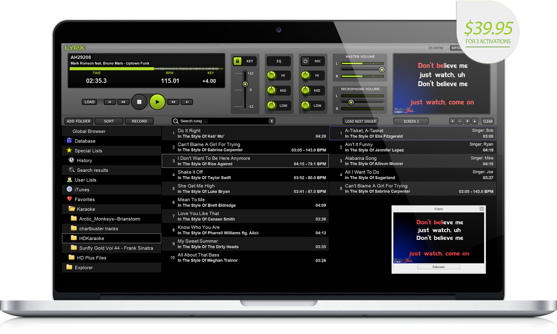 LYRX karaoke software for MAC